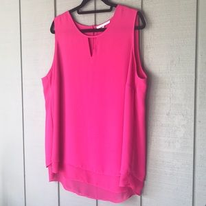 Violet + Claire 2X bright pink sleeveless blouse